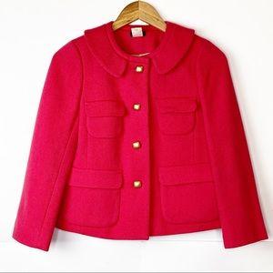 EUC J. Crew Pink Peter Pan Collar Wool Coat